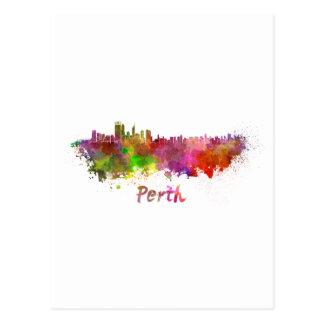 Perth skyline in watercolor postcard