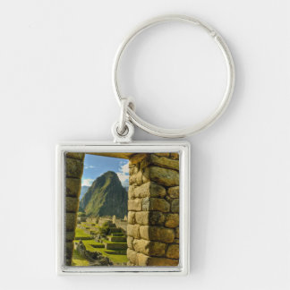 Peru, Andes, Andes Mountains, Machu Picchu, Silver-Colored Square Keychain