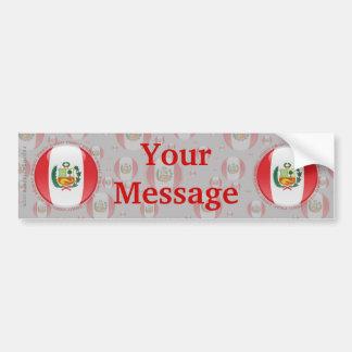 Peru Bubble Flag Car Bumper Sticker