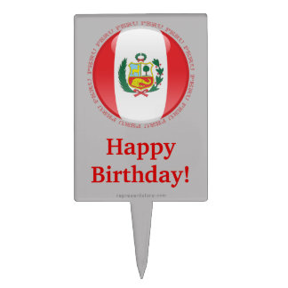 Peru Bubble Flag Cake Topper
