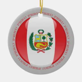 Peru Bubble Flag Double-Sided Ceramic Round Christmas Ornament