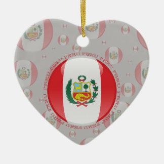 Peru Bubble Flag Double-Sided Heart Ceramic Christmas Ornament