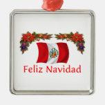 Peru Christmas Square Metal Christmas Ornament