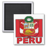 Peru Coat of Arms 2 Inch Square Magnet
