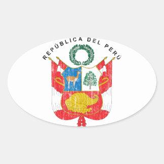 Peru Coat Of Arms Oval Sticker