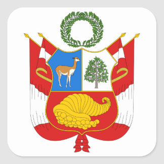 Peru Coat of Arms Square Sticker