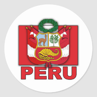 Peru Coat of Arms Round Stickers