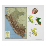 Peru Detailed Map 1970 Posters