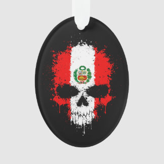 Peru Dripping Splatter Skull Ornament