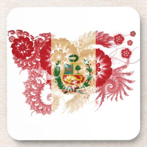 Peru Flag Beverage Coasters