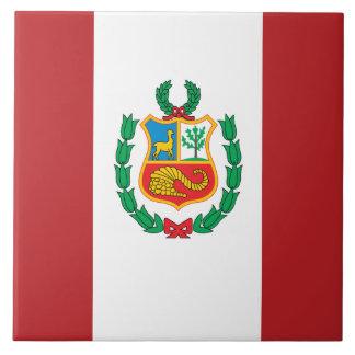 Peru Flag Ceramic Tile