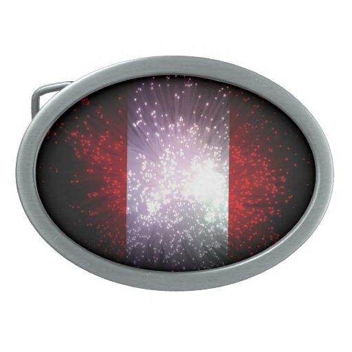 Peru Flag Firework Oval Belt Buckle