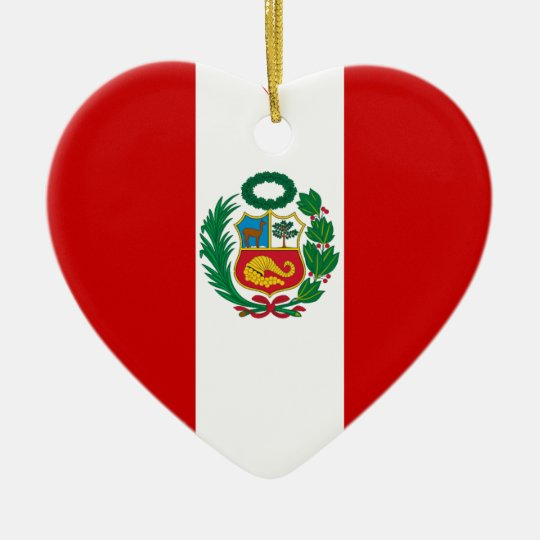 Peru Flag Heart Ceramic Ornament