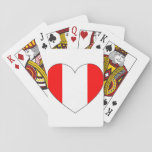 Peru Flag Heart Playing Cards