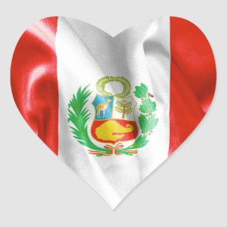 Peru Flag Heart Shaped Sticker