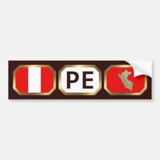 Peru Flag Map Code Bumper Sticker Car Bumper Sticker