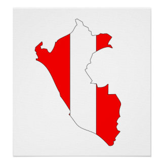 Peru Flag Map full size Poster