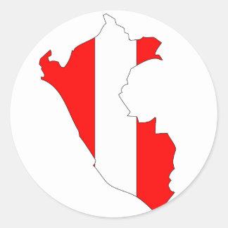 Peru flag map round sticker