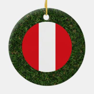 Peru Flag on Grass Ceramic Ornament