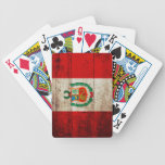 Peru Flag on Old Wood Grain Bicycle Playing Cards