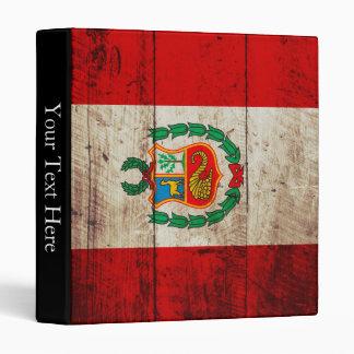Peru Flag on Old Wood Grain Binder