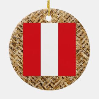 Peru Flag on Textile themed Ceramic Ornament