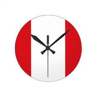 Peru Flag Round Clock