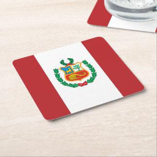 Peru Flag Square Paper Coaster