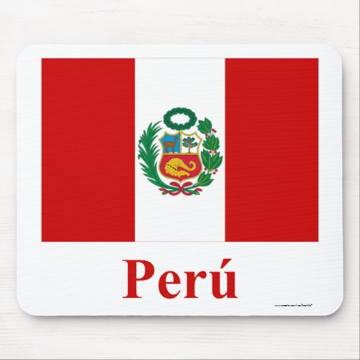 Peru Flag with Name in Spanish Mouse Pad
