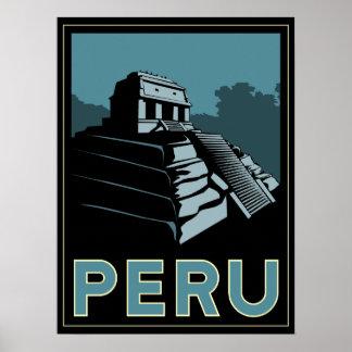 peru inca south america art deco retro poster