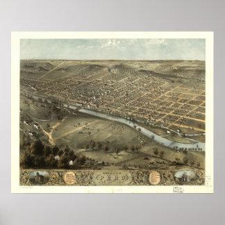 Peru Indiana 1868 Antique Panoramic Map Poster