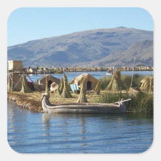 Perú: Isla en el lago Titicaca Calcomanía Cuadradas Personalizadas