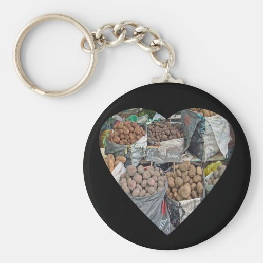 Peru-Land of Potatoes Basic Round Button Keychain