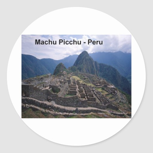 Perú las ruinas de Machu Picchu (St.K.) Pegatina Redonda