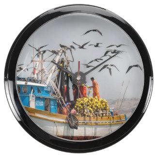 Peru, Los Organos. Fishing Boat In Los Organos Aquarium Clock