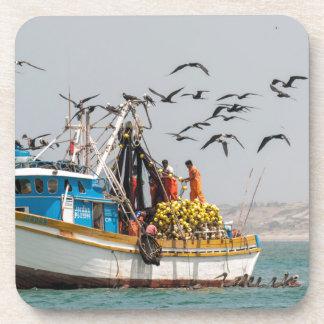 Peru, Los Organos. Fishing Boat In Los Organos Beverage Coaster