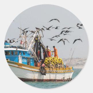 Peru, Los Organos. Fishing Boat In Los Organos Classic Round Sticker