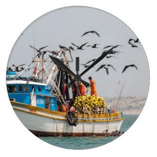 Peru, Los Organos. Fishing Boat In Los Organos Clock