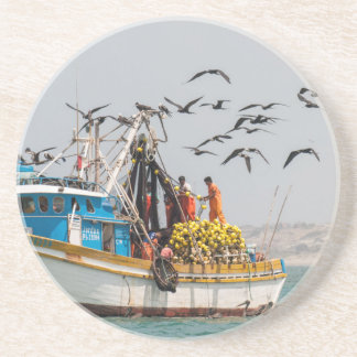 Peru, Los Organos. Fishing Boat In Los Organos Coasters