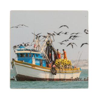 Peru, Los Organos. Fishing Boat In Los Organos Maple Wood Coaster