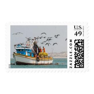 Peru, Los Organos. Fishing Boat In Los Organos Postage Stamp