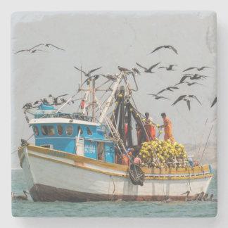 Peru, Los Organos. Fishing Boat In Los Organos Stone Coaster