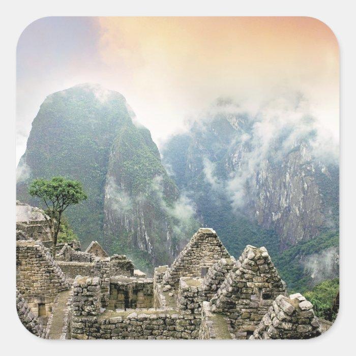 Peru, Machu Picchu, the ancient lost city of Square Sticker