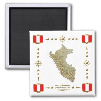 Peru Map + Flags Magnet