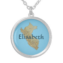 Peru Map   Name Necklace