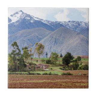 Peru, Maras. Landscape Above The Sacred Valley Ceramic Tile