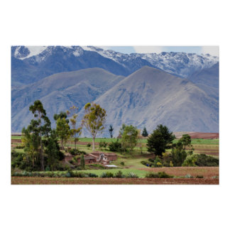 Peru, Maras. Landscape Above The Sacred Valley Poster