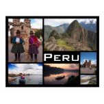 Peru multiple image collage black text postcard