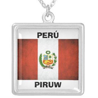 Peru National Flag Square Pendant Necklace