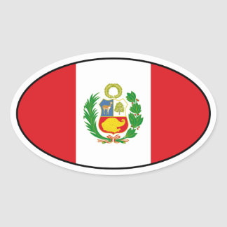 Peru State Flag Oval Sticker